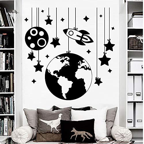 BFMBCH Planetary Wandaufkleber Rocket Decals Vinyl Wandaufkleber Kindergarten Dekoration Kinderzimmer Junge Schlafzimmer Aufkleber Geschenk Wandaufkleber Home Art Wandaufkleber Erbsengrün 58X56 cm (Traktor Ford Uhr)