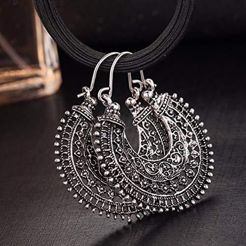 osmanthusFrag Retro ethnischen aushöhlen Carving U-förmigen Korb Frauen Wire Hoop Ohrringe Schmuck Dekor Antikes Silber -