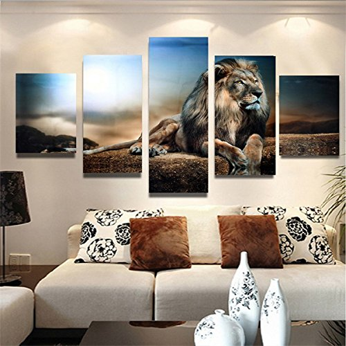 Inovey 5Pcs Toile Frameless Impression Assise Lion Wall Art Peinture Photo Décoration De La Maison