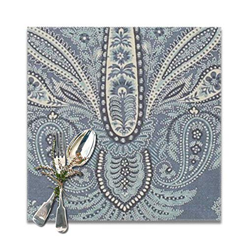 Placemat Paisley Pattern Table Mats: Heat Stain and High Temperature Resistant; Anti-Skid Washable Non-Slip for Kitchen and Dining ,Set of 6,12x12 inch -