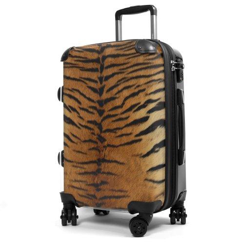 """HAUPTSTADTKOFFER® · Hartschalenkoffer Handgepäck Koffer Trolley Reisekoffer Hartschale · Serie """"Style"""" (Retro Sommer Strand) Tigerfell"""