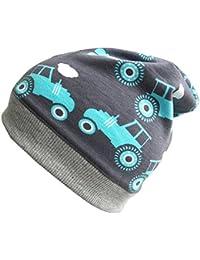 WOLLHUHN ÖKO Beanie-Mütze grau mit Traktor für Jungen, 20151219