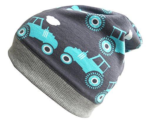 WOLLHUHN ÖKO Beanie-Mütze grau mit Traktor für Jungen, 20151219, Gr S: KU 48/50 (ca 1-3 Jahre)