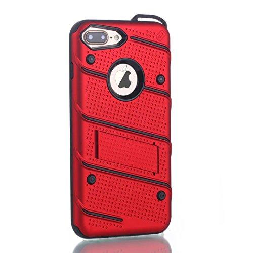 EKINHUI Case Cover Dual Layer Hybrid Armor Schutzhülle Shockproof Stoßfänger mit Kickstand für iPhone 7 Plus / 8 Plus ( Color : Silver ) Red