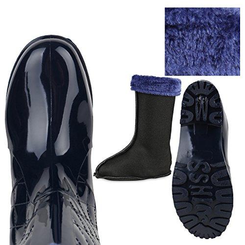 Japado , bottes en caoutchouc femme bleu foncé