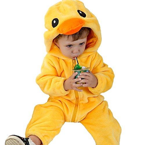 M&A Baby Overall aus Fleece, baby Kostüm Ente,0-6 Monate