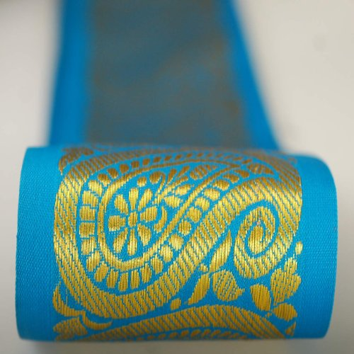 Neotrims 9cms Wide Indian Paisley Salwar Kameez and Saree Trimming Ribbon By The Yard, Great Price Limited Edition Stunning Decorative Border, Non Repeatable, Great Value. Turquoise Blue & Purple with Metallic Gold Jacquard; Beautiful. - Indian Sarees Salwar Kameez