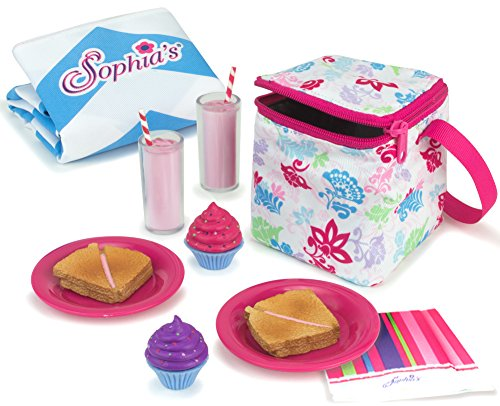 Sophia 27s Sophia's Doll Food Picnic Playset of 12 Pieces, Thermal Cooler, Matching Picnic Blanket, 2 Pink Lemonade Glasses, 2 Plates, 2 Napkins, 2 Ham Sandwiches & 2 Cupcakes Perfect for 18 Inch American Dolls