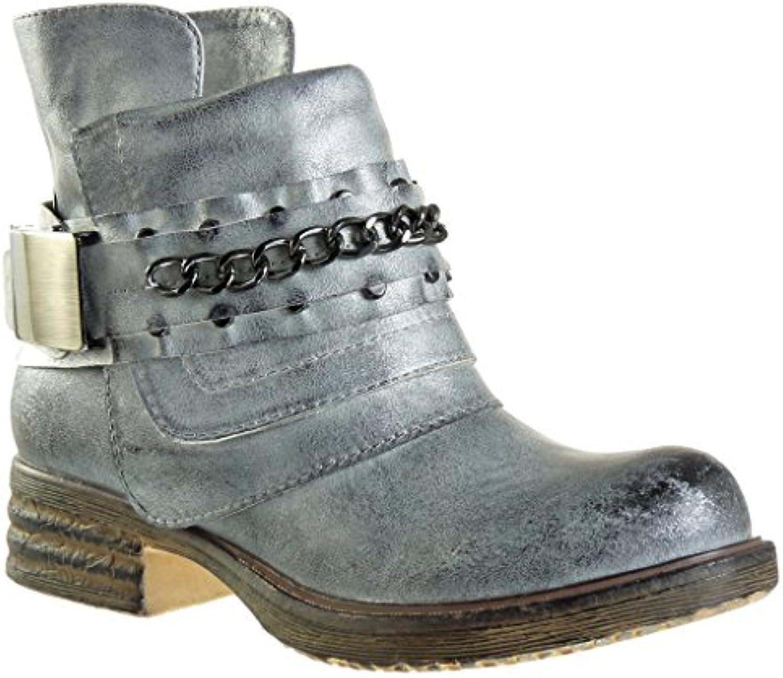 Angkorly - damen Schuhe Stiefeletten - Reitstiefel - Kavalier - bi-Material - Kette - Knoten - camouflage Blockabsatzö