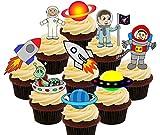 Space Party Pack - Decoración comestible para magdalenas, diseño de astronautas, alienes, cohetes y nave espacial, decoración para pasteles, Pack of 72
