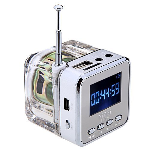 NIZHI Mini Digital Music portatile di MP3 / 4 Player Micro SD / TF USB Speaker Disk Radio FM(argento)