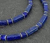 Lapislazuli-Collier, Würfel und Rechtecke mit Sterling Silber,Lapislazuli, 925er Silber,Edelsteinkette