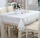 ShineMoon Home Rustic Kitchen Dining Table Cloths Covers White with Lace Square/Rectangular Tablecloth for Indoor Outdoor