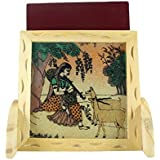 Ganga Craft House Pine Wood Rajasthan Art Design Gemstone Mobile Stand