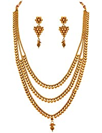 Jfl - Jewellery For Less Traditional Ethnic One Gram Gold Plated Multi Strand Long Necklace Set For Women