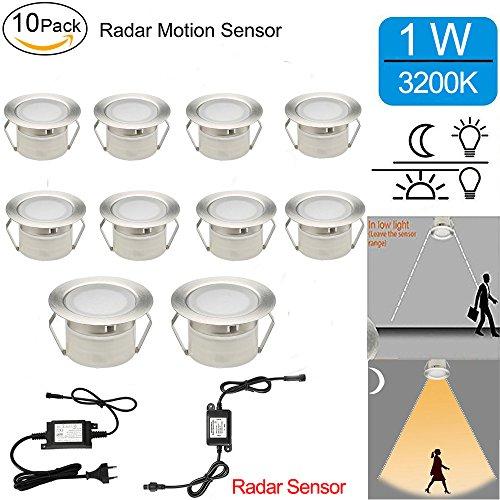 Radar Sensor Bodeneinbaustrahler LED Aussen 1W Ø45mm IP67 Wasserdicht LED Einbaustrahler Terrasse Küche Garten LED Lampe Full Kit