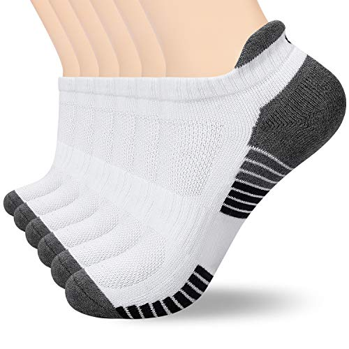 anqier Sneaker Socken Herren Damen Baumwolle Sportsocken Schwarz Weiß Grau, 35-38, 39-42, 43-46, 47-50 (6 Paar) (6x Weiß(M04), 47-50) -
