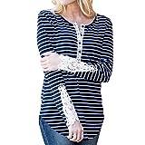 Luckycat Frauen Spitze Patchwork Langarm Floral Bottom beiläufige Gestreifte Bluse T-Shirt Top Mode 2018