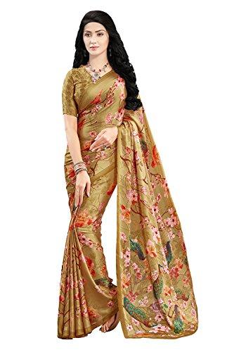 Applecreation Satin Saree With Blouse Piece (_Gold_Free Size)