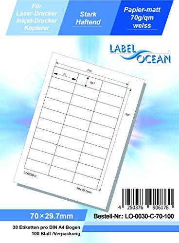 LabelOcean LO-0030-C-70-100 Universal Etiketten, 100 Blatt 70g/qm, Hochwertiges Papier