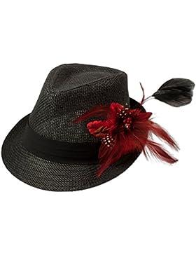 Alpenflüstern Damen Strohhut Trachtenhut schwarz mit Feder-Clip ADV03000020 rot