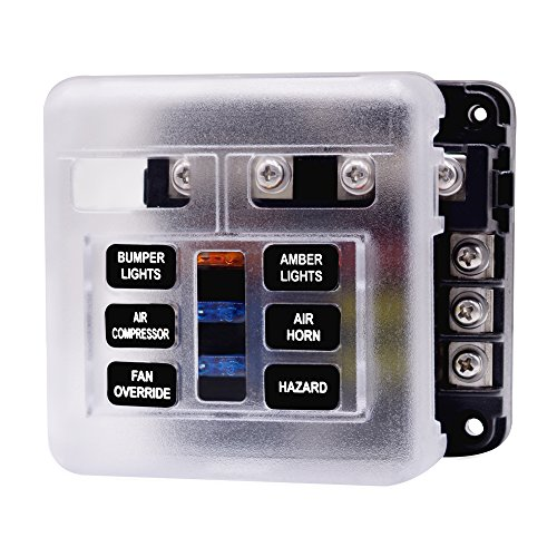 Caja de Fusibles 6 Vías Portafusibles con Lámpara de Alerta LED Kit para Coche Barco