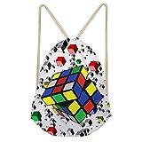 Shinelly Turnbeutel Rucksack Sport Kordel Beuteltasche Für Reisen Und Schule(Magic Cube) Zauberwürfel EINE Size