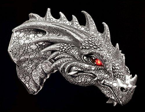 Dragones cabeza relieve de pared con LED Ojos plateadot - Figura FANTASY GOTHIC