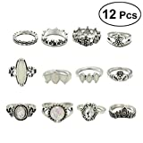 #10: 12Pcs Women Rings Set Vintage Boho Ethnic Combination Finger Rings Suit Jewelry for Girls