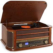 auna Belle Epoque 1908 equipo estéreo retro con tocadiscos (reproductor CD y casete, sintonizador DAB, receptor FM, ranura USB)
