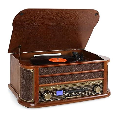 auna • Belle Epoque 1908 • Retroanlage • Stereoanlage • Plattenspieler • Riemenantrieb • Stereo-Lautsprecher • Radio-Tuner • UKW/MW Empfänger • Frequenzbandanzeige • USB-Slot • CD-Player • Kassettendeck • Digitalisierungsfunktion • Holz Gehäuse •
