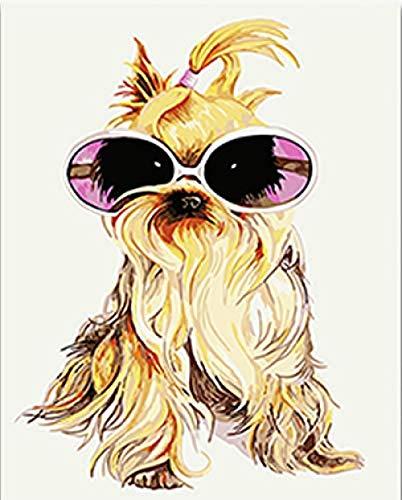 FSKJSZYH Rahmenlose DIY Malen Nach Zahlen Cool Cut Sonnenbrille Hund Tiere Bilder Farben Mit Kits Für Erwachsene Für Zuhause 40X50 cm