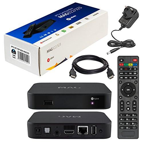 518FVqVlZLL. SS500  - MAG 322 Original Infomir & HB-DIGITAL IPTV SET TOP BOX Multimedia Player Internet TV IP Receiver (HEVC H.265 support) successor of MAG 254 with UK Plug + HB Digital HDMI Cable