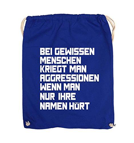 Comedy Bags - Bei gewissen Menschen kriegt man Aggressionen. - Turnbeutel - 37x46cm - Farbe: Schwarz / Pink Royalblau / Weiss