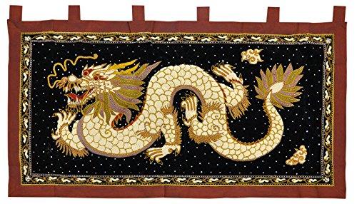 Wandbehang Wandteppich Wandkissen Drache Elefant Handarbeit Gobelin Thailand, verschiedene Motive und Größen erhältlich (16334 (Drache))