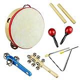 Tera 6 en 1 Kit d'instruments de musique en bois à percussion pédagogique le meilleur cadeau pour les enfants et bébés