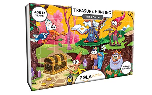 Pola Puzzles Treasure Hunting Tiling Puzzles 60 Pieces For Kids Age 5 years and above Multi Color Size 36CM X 21CM Jigsaw Puzzles for Kids