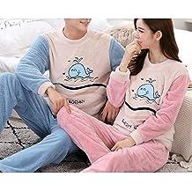 JJF Modelos de Otoño E Invierno Pijamas de Pareja/Invierno Coral Terciopelo Dulce Grueso Cálido