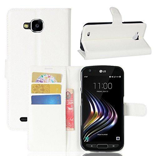 Tasche für LG X Venture Hülle, Ycloud PU Kunstleder Ledertasche Flip Cover Wallet Case Handyhülle mit Stand Function Credit Card Slots Bookstyle Purse Design weiß