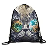 Etryrt Zaino con Coulisse,Borse Sacca,Sacchetto Cool Cat Lightweight Drawstring Bag Sport Gym Sack Bag Backpack with Side Pocket