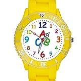 Taffstyle Kinder Armbanduhr Silikon Sportuhr Bunte Sport Uhr Kinderuhr Lernuhr Zahlen ABC Motiv Analog Gelb