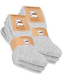 Lot de 6 paires de chaussettes norvégiennes - laine épaisse - semelle molletonnée - gris chiné