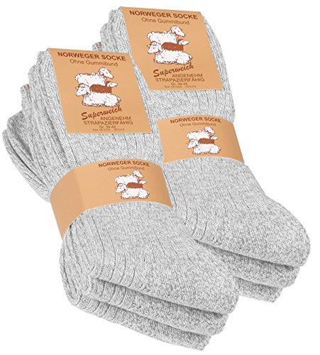 Lot de 6 paires de chaussettes norvégiennes - laine épaisse - semelle molletonnée - gris chiné - taille 39/42