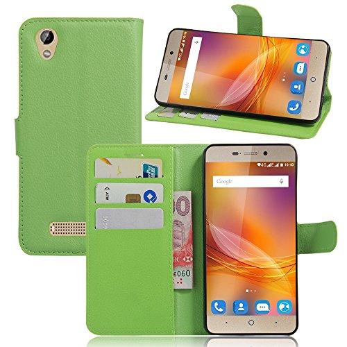 Tasche für ZTE Blade A452 Hülle, Ycloud PU Ledertasche Flip Cover Wallet Case Handyhülle mit Stand Function Credit Card Slots Bookstyle Purse Design grün