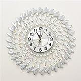 NWYJR Wanduhr Ultra Leise Europäische Einfache Liebe Kristall Diamant Schöne Moderne Wohnzimmer Schlafzimmer Kreative Eisen Hängende Uhr White