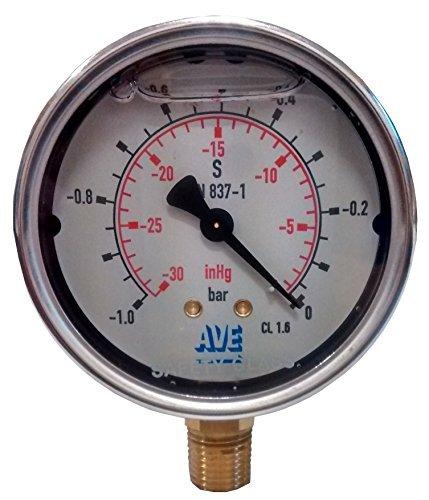 Qualität Vakuum/Druck Messuhr für Vakuumpumpen und Vakuum Aschesauger Edelstahl Glyzerin gefüllt rohrfededer Vakuum/Manometern. Von aufgetragen Vakuum Engineering -