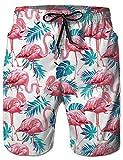 NEWISTAR Badehose für Herren Jungen Badeshorts für Männer Schnelltrocknend Schwimmhose Beachshorts Boardshorts Strand Shorts Trainingshose mit Mesh-Futter-XL-Flamingo Flamingo