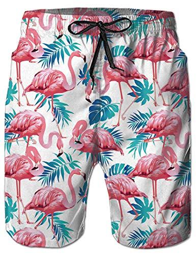 NEWISTAR Badehose für Herren Jungen Badeshorts für Männer Schnelltrocknend Schwimmhose Beachshorts Boardshorts Strand Shorts Trainingshose mit Mesh-Futter-S-Flamingo