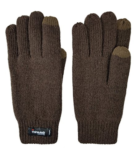 Bruceriver Femmes Gants tricotés laine pure avec doublure Thinsulate et poignets élastiques Marron Touchscreen