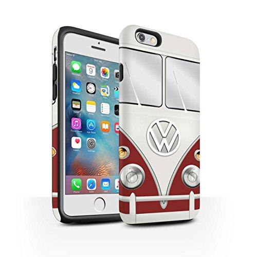 Coque Matte Robuste Antichoc de STUFF4 / Coque pour Apple iPhone 6S / Titan Rouge Design / Rétro T1 Bus Campeur Collection Titan Rouge